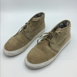 Tory Burch Iggy Camel Suede Lace Up Sneakers